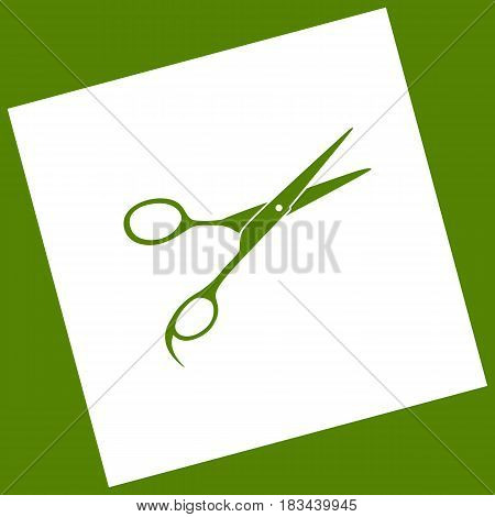 Hair cutting scissors sign. Vector. White icon obtained as a result of subtraction rotated square and path. Avocado background.