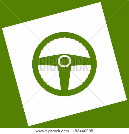 Car driver sign. Vector. White icon obtained as a result of subtraction rotated square and path. Avocado background.