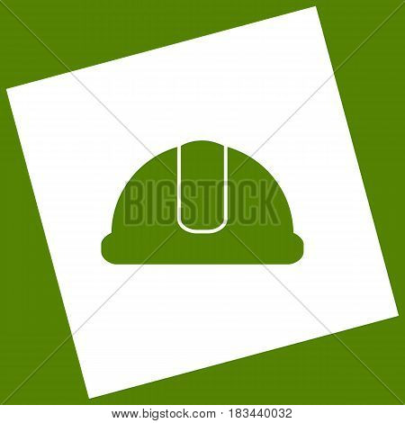 Hardhat sign. Vector. White icon obtained as a result of subtraction rotated square and path. Avocado background.