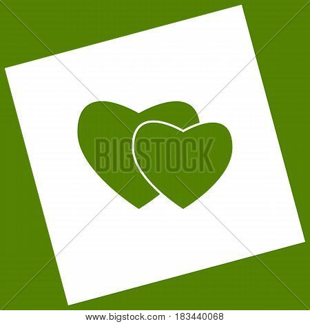 Two hearts sign. Vector. White icon obtained as a result of subtraction rotated square and path. Avocado background.