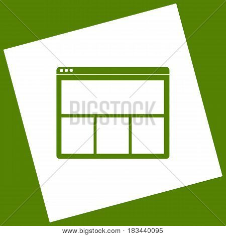 Web window sign. Vector. White icon obtained as a result of subtraction rotated square and path. Avocado background.