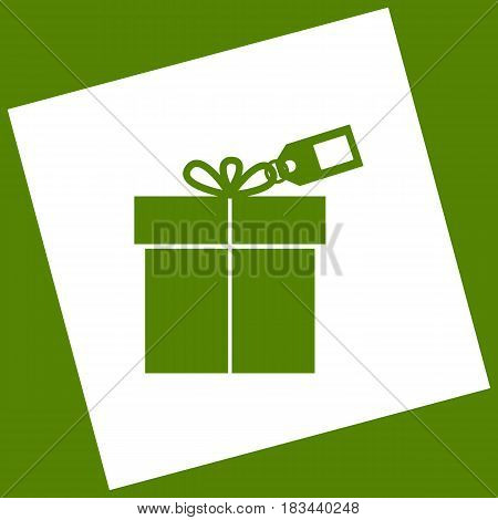 Gift sign with tag. Vector. White icon obtained as a result of subtraction rotated square and path. Avocado background.