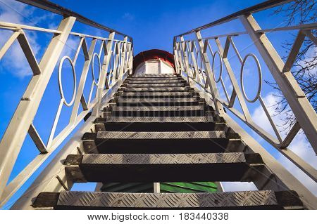 View of stairs of an old lighthouse on a sunny spring day