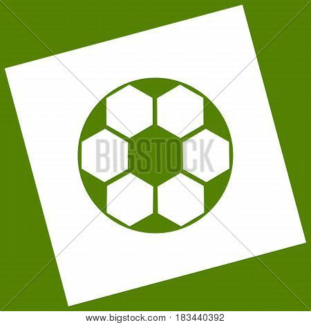 Soccer ball sign. Vector. White icon obtained as a result of subtraction rotated square and path. Avocado background.
