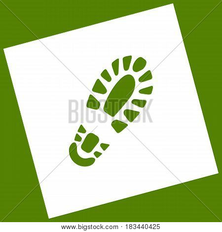 Footprint boot sign. Vector. White icon obtained as a result of subtraction rotated square and path. Avocado background.