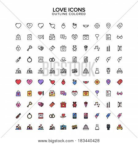 love outline colored icons. Vector Illustration. Outline Icon