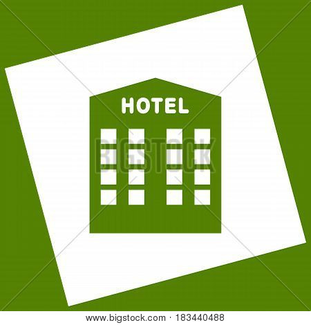 Hotel sign. Vector. White icon obtained as a result of subtraction rotated square and path. Avocado background.
