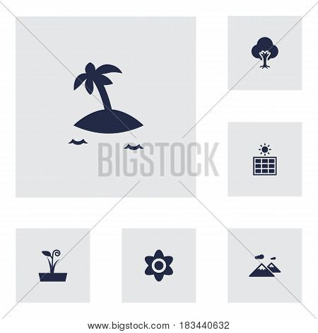 Set Of 6 Nature Icons Set.Collection Of Flowerpot, Pinnacle, Bloom And Other Elements.