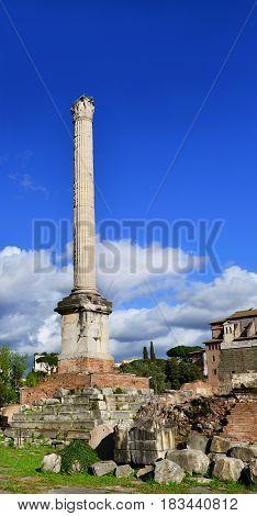 Ancient Column of Byzantine Emperor Phocas in the center of Roman Forum