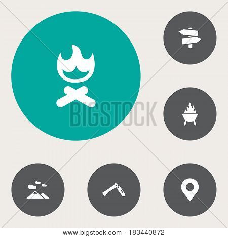 Set Of 6 Picnic Icons Set.Collection Of Location, Jackknife, Signpost And Other Elements.