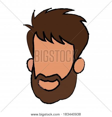 face man male bearded character image vector illustration
