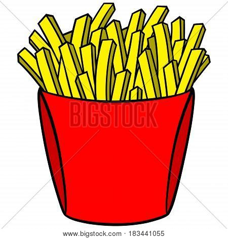 A vector illustration of some fried french fries.