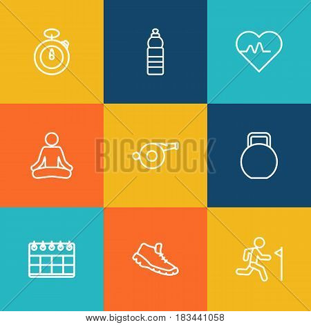 Set Of 9 Bodybuilding Outline Icons Set.Collection Of Yoga, Training, Trekking Shoes And Other Elements.