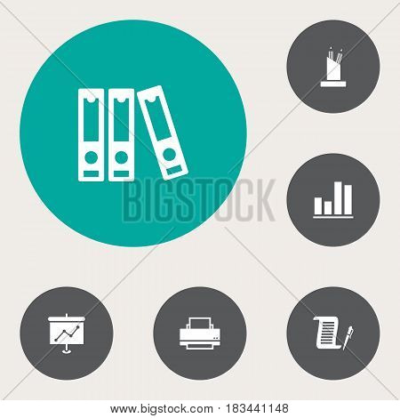 Set Of 6 Work Icons Set.Collection Of Presentation, File Folder, Pencil Stand Elements.
