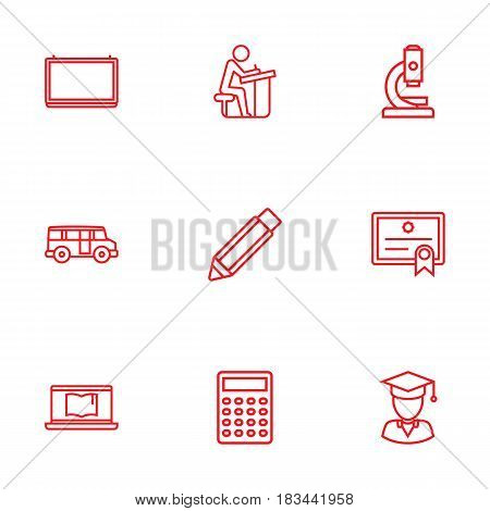 Set Of 9 Science Outline Icons Set.Collection Of School Board, Bus, Graduated And Other Elements.