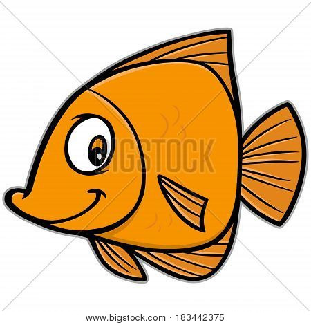 A vector illustration of a cartoon Goldfish.