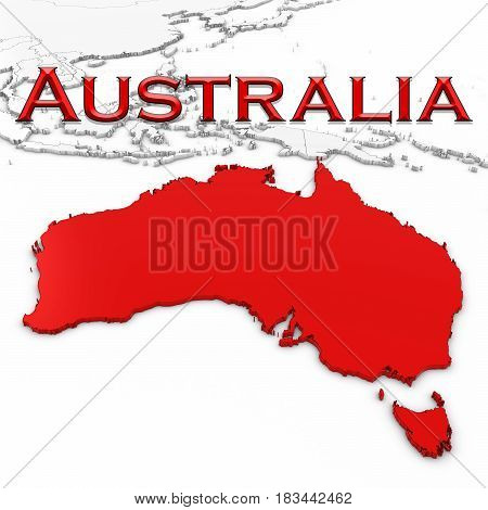 3D Map Of Australia With Country Name Highlighted Red On White Background 3D Illustration