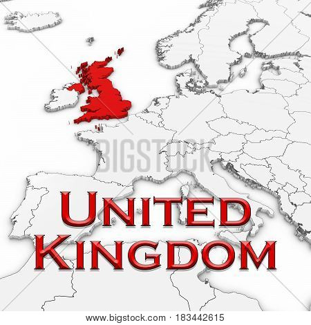 3D Map Of The United Kingdom With Country Name Highlighted Red On White With White Background 3D Ill