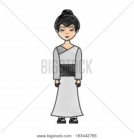 japanese geisha character icon vector illustration design