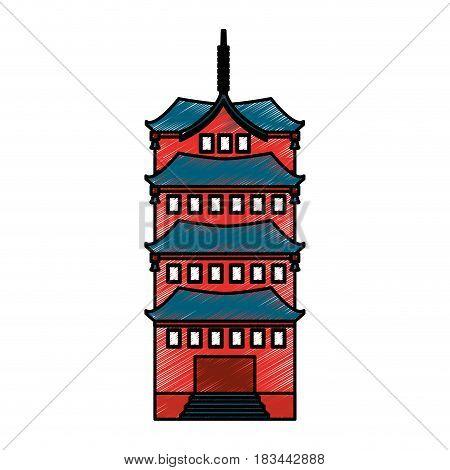 culture japanese tower building vector illustration design