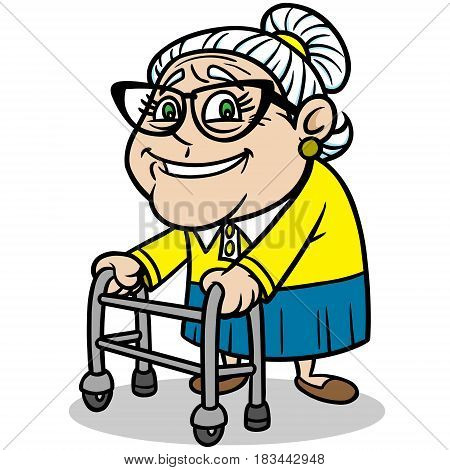 A vector illustration of a Grandma on a walker.