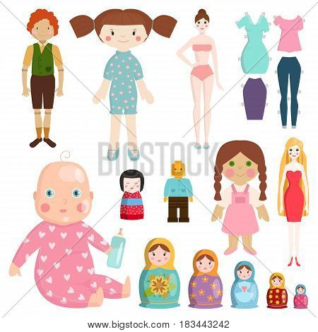 Set icons small girls dolls playing with toys handmade happy children character and game gift dolly cute play baby fabric cloth vector illustration. Pretty matryoshka designer sitting tool.