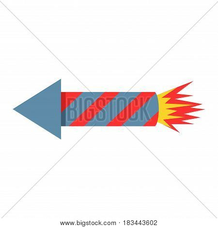 Fireworks rocket icon vector illustration in flat style. Red skyrocket symbol festival isolated on white background.