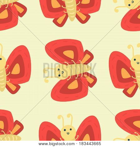 Colorful butterfly with abstract decorative seamless pattern vector. Graphic summer free fly present silhouette. Beauty nature spring insect decoration.