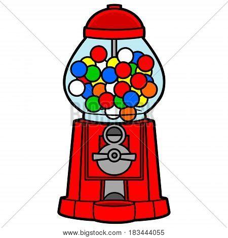A vector illustration of a Bubble Gum machine.