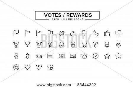 Votes Rewards Line Icon Set. Vector Illustration
