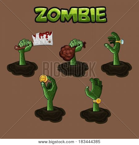 Zombie hand.  Design vector of different hand of zombie