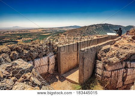 View over trench from Israel upon Syria.