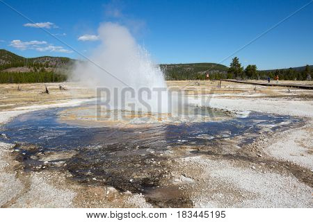 Geyser eruption in the Yellowstone national park, USA