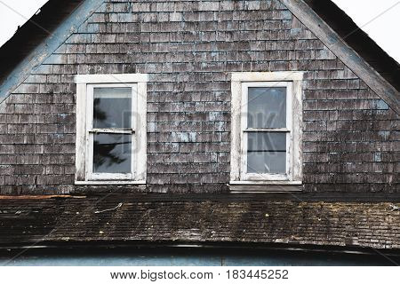 Windows on an abandoned house near the Oregon coast.