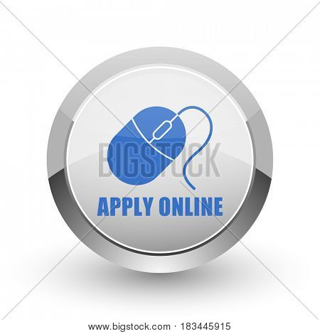 Apply online chrome border web and smartphone apps design round glossy icon.
