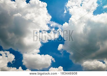 Close up blue sky background with clouds