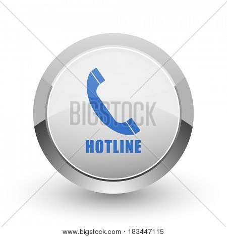 Hotline chrome border web and smartphone apps design round glossy icon.