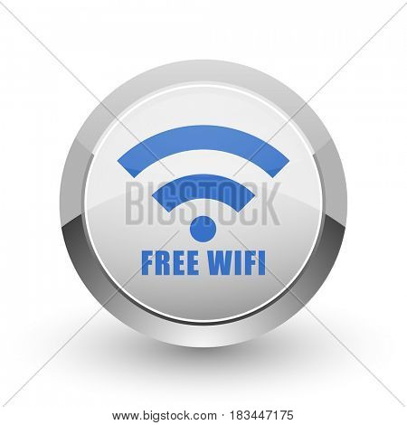 Free wifi chrome border web and smartphone apps design round glossy icon.