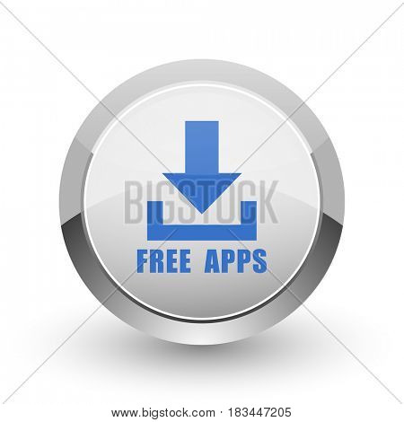Free apps chrome border web and smartphone apps design round glossy icon.