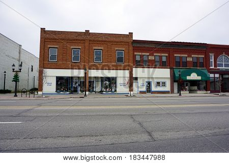 KALKASKA, MICHIGAN / UNITED STATES - NOVEMBER 27, 2016: Kalkaska Area Interfaith Resources (KAIR) provides a food pantry, a resale store, and community services on Cedar Street in downtown Kalkaska.