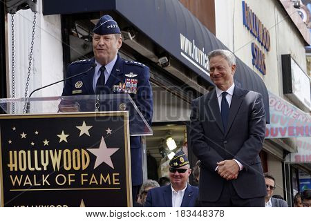 LOS ANGELES - APR 17:  Gen. Robin Rand, Gary Sinise at the Gary Sinise Honored With Star On The Hollywood Walk Of Fame on April 17, 2017 in Los Angeles, CA