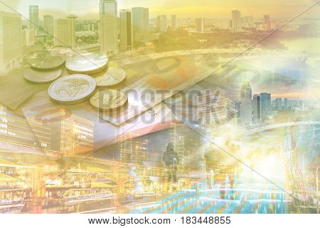 Double exposure of businesswoman and cityscape - Business concept Immovable property concept