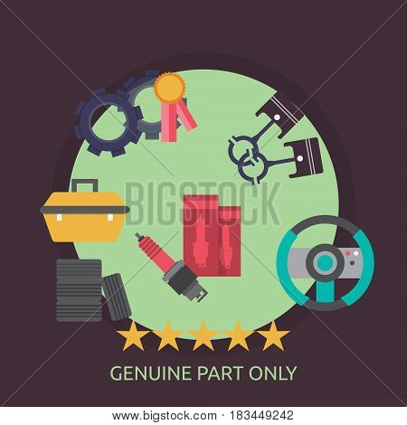 Genuine Part Only Conceptual Design | Great flat illustration concept icon and use for mechanic, car repair, industrial, transport, business concept, and much more.