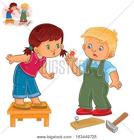 Vector illustration of a little girl sympathizes with a little boy who struck a finger with a hammer. Print