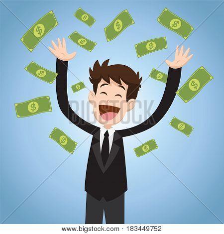 Businessman throwing bank notes vector illustration design