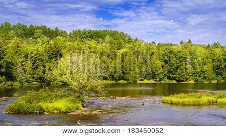 Scenic view of Tahquamenon River in Upper Peninsula, Michigan