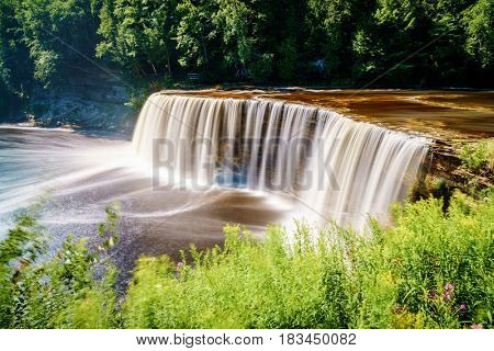Scenic view of Tahquamenon Falls in Upper Peninsula, Michigan