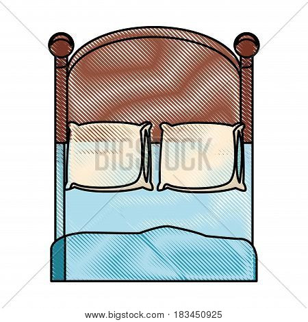 drawing bedroom two pillow blanket wooden image vector illustration