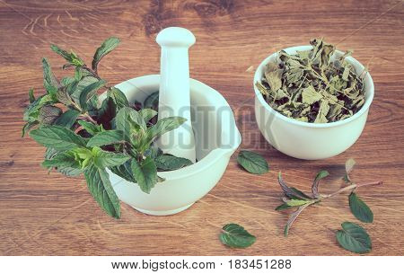 Vintage Photo, Fresh Natural Green And Dried Mint With Mortar, Healthy Lifestyle