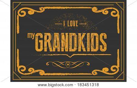 i love my grandkids icon vector retro